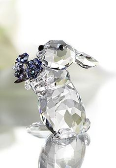 Swarovski Crystal Rabbit with Forget-Me-Nots.