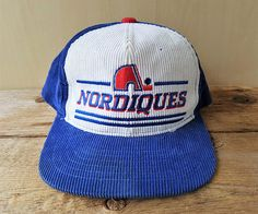 QUEBEC NORDIQUES Original Vintage 80s Official Licensed NHL Corduroy  Snapback Hat Ted Fletcher The Classic Rare Cap Hockey 2 tone Ballcap 13d5ee9bf