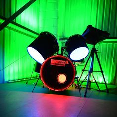 This drum kit has been fitted out with Ledridge Lighting LED colour changing ribbon. Now as you play you can watch each drums skin change.