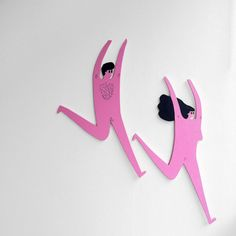 Running Lady & Man wooden wall hanging by Amy Victoria MarshAffordable Art