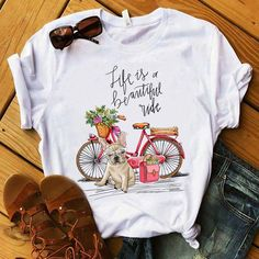 French bulldog Bike Tshirt This tshirt is Made To Order one by one printed so we can control the quality. Design T Shirt, Shirt Designs, Biking With Dog, Buy French Bulldog, T Shirt Painting, Direct To Garment Printer, Shirt Style, Tee Shirts, Tees