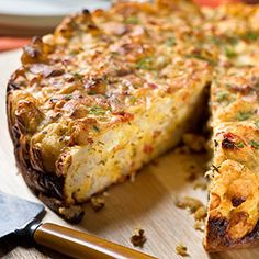 Savory Cauliflower Cake Cauliflower is the trendy vegetable this year and this looks like a delicious way to enjoy it.