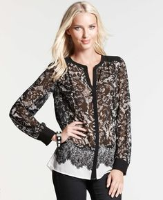Ann Taylor - AT New Arrivals - Hand-Drawn Lace Print Shirt