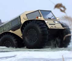 The Sherp is a new all terrain vehicle from Russia that can go over any terrain and is pretty much unstoppable. Due to the enormous wheels, not only can the Sherp practically climb a mountain, but it ...