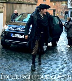 Fan Pic | Sam Heughan (Jamie Fraser) on set of Outlander Season 3 'Voyager' | Edinburgh | January 17, 2017