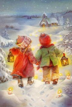 lisi martin // winter illustration  boy girl church snow christmas art