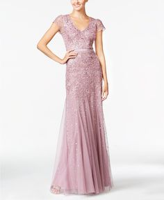 Adrianna Papell Cap-sleeve Beaded Embellished Gown - Dusty Rose