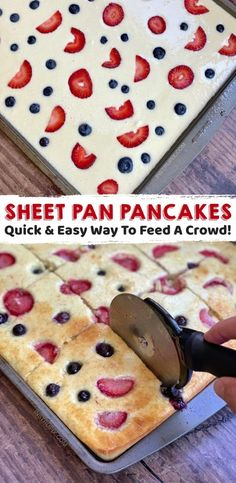 Quick & Easy Breakfast Idea For A Crowd (Sheet Pan Pancakes) Great for brunches & sleepovers! Quick & Easy Breakfast Idea For A Crowd (Sheet Pan Pancakes) Great for brunches & sleepovers! Breakfast For A Crowd, Quick And Easy Breakfast, Breakfast Dishes, Breakfast Recipes, Breakfast Healthy, Breakfast Ideas For Kids, Breakfast Appetizers, Appetizers For Kids, School Breakfast