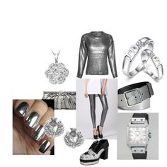 A super silvery, shiny entry in the Metal Mania fashion mission with cool silver leggings Silver Leggings, Edgy Chic, Graphite, Fashion Forward, Chrome, Couture, Grey, Metal, Outfits