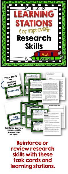 Task cards and learning stations for high school English Use to review and reinforce research skills.