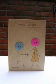 Cute ideas of cards and invitations made with buttons - Motivational Trends Paper Cards, Diy Cards, Wedding Cards Handmade, Button Cards, Engagement Cards, Wedding Anniversary Cards, Love Cards, Creative Cards, Scrapbook Cards
