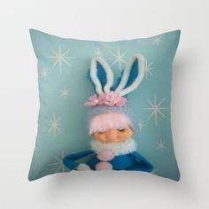 vintage blue mod bunny Throw Pillow by Vintage Cuteness Hunny Bunny, Blue Bunny, Kitsch, Tech Accessories, Goodies, Kawaii, Easter, Throw Pillows, Art Prints