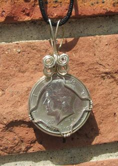 1976, Kennedy Half dollar necklace, Pendent, wire wrap by johnchapman3 on Etsy