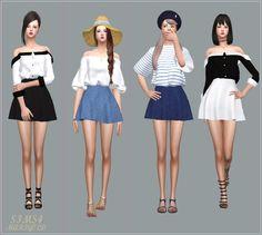 Skater Mini Skirt v1_스케이터 미니 스커트 단색 버전_여자 의상 - SIMS4 marigold
