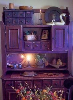 Cupboard ~now that is purple…love the color, but it wouldnt go with a thing in my house… Purple Home, Purple Furniture, Painted Furniture, Painted Armoire, Painted Sideboard, Sweet Home, Deco Boheme, All Things Purple, Purple Stuff