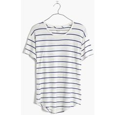 MADEWELL Whisper Cotton Crewneck Tee in Mariner Stripe ( 32) ❤ liked on  Polyvore featuring 59d4c589bc