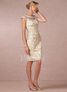 Etui-Linie U-Ausschnitt Knielang Spitze Reißverschluss Cap Straps Ärmellos Nein Champagner Frühling Sommer Kleid für die Brautmutter