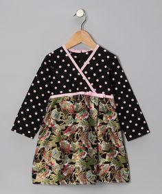 Dots & Asian fan faux wrap dress