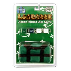 Roll the dice!  A fun and easy lacrosse dice game in a mini duffle bag storage case. Ready for an 'off the field' game anywhere and any time!  Includes set of offensive and a set of defensive dice, green mini-duffle bag storage case, ages 6-Adult, 1-2 Players.  Get yours on Lax.com