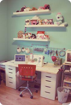 craft space. Towel racks.