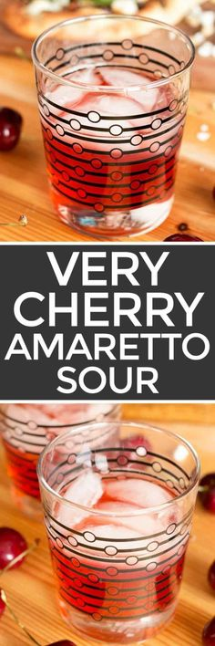 awesome Very Cherry Amaretto Sour - Cake 'n Knife Bar Drinks, Non Alcoholic Drinks, Cocktail Drinks, Cocktail Recipes, Beverages, Cocktails, Amaretto Sour, Amaretto Drinks, Bourbon Drinks