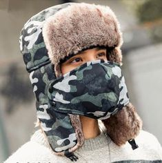 1968c79629fbe Green camouflage bomber hat with ear flaps mens winter ushanka hat