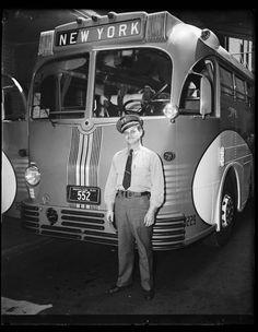 Greyhound bus, New York 1937.