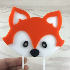 Layered with orange, and black acrylic. Roughly wise Acrylic is a food safe, re-usable material. Birthday Toast, Tiger Cake, 2 Layer Cakes, Fox Cake, Acrylic Cake Topper, Custom Cake Toppers, Woodland Baby, Cake Toppings, Baby Shower Decorations