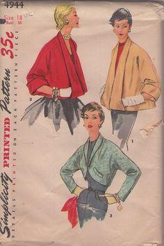 MOMSPatterns Vintage Sewing Patterns - Simplicity 4944 Vintage 50's Sewing Pattern AMAZING New Look Lucy Elongated Shawl Collar Pockets Jacket, Fitted Bolero Jacket, Evening Coat Set
