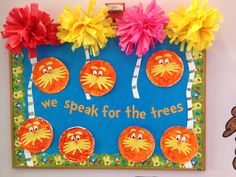 Perfect for dr Seuss week or read across America. Make lorax by painting a paper plate orange and then trace the kids hands on yellow paper for the mustache. Add some truffula trees made from tissue paper and you've got a crowd pleaser!