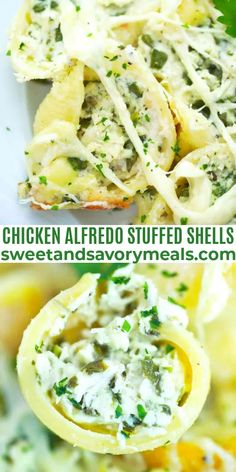 Chicken Alfredo Stuffed Shells are creamy and cheesy with just the right amount of rich alfredo sauce and spinach to make a perfect meal that the whole family will love. #stuffedshells #pasta #chicken #alfredopasta #sweetandsavorymeals