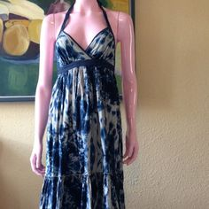 Moda International Tye Dye Maxi Dress Beautiful Moda International Tye Dye Maxi Dress with Navy/Blue and Taupe Colors. Halter Neck and Low Back. Two Tiers. Lovely and Fun. Perfect For Summer Days. Excellent Condition. Moda International Dresses Maxi