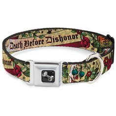 Buckle-Down Death Before Dishonor Tan Dog Collar Bone, Wide Small/13-18' *** See this great product. (This is an affiliate link) #DogIDTags
