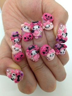 "Kawaii nails- please note the ""board"" this is pinned to!"