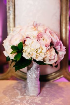 White, Ivory, Light Pink Bouquet || Wedding Flowers