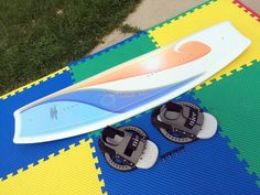 AS-IS/NO FINS RARE VINTAGE OLD-SCHOOL 90s DPQ 140cm WAKEBOARD+NICE L/XL BINDINGS #DPQ