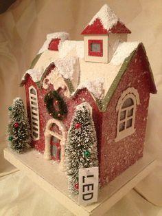 "Vintage Style Christmas Village House 9""H w LED Lights Putz Style | eBay"
