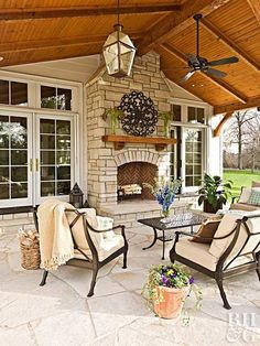 Home Renovation Porch Get the most out of youe home and your time. These renovations are sure add immense value to your home. - Get the most out of youe home and your time. These renovations are sure add immense value to your home. Back Patio, Backyard Patio, Backyard Ideas, Backyard Covered Patios, Covered Patio Design, Home Renovation, Home Remodeling, Outside Living, Outdoor Rooms