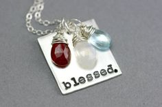 Mothers Necklace - Blessed - Hand Stamped Necklace - Personalized Necklace - Birthstone Necklace