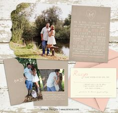 Romantic wedding invitations with rustic charm.  Blush pink, cream and tan.  Designed by Jeneze Designs, www.jeneze.com