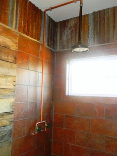 love this shower with the tin and stone