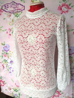 Купить гипюровую блузку белую