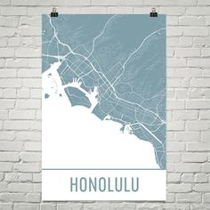 Honolulu Map Art Print, Honolulu HI Art Poster, Honolulu Wall Art, Honolulu Gift, Map of Honolulu, Honolulu Print, Birthday, Modern, Art
