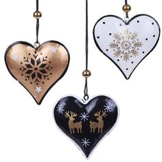 Pack of 3 Metal Heart Decorations (425 MKD) ❤ liked on Polyvore featuring home, home decor, holiday decorations, heart home decor and metal home decor