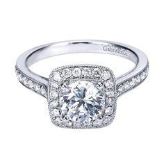 14K White Gold 1.48cttw Bead Set Cushion Shaped Halo Round Diamond Engagement Ring
