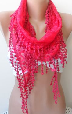 Red scarf Red lace scarf.elegant scarfs Summer by elegancescarf, $15.50
