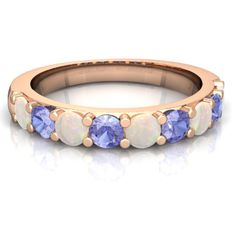 Opal Wedding/Anniversary Band 14K Rose Gold ring R5230 - front view