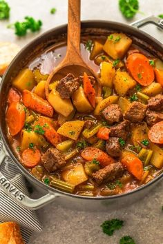 Homemade Beef Stew (Classic) is the perfect delicious & comforting dish on a cold day. Best of all, so easy to make with tender beef and a dish we all LOVE.