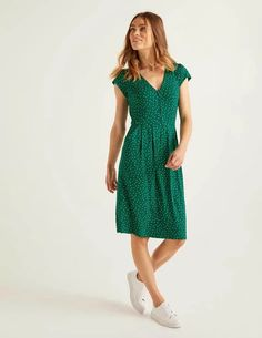 Alberta Jersey Dress - Forest, Polka Dot