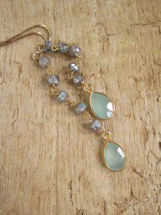 Linear Drop Earrings Sea Green Chalcedony by julianneblumlo, $48.00